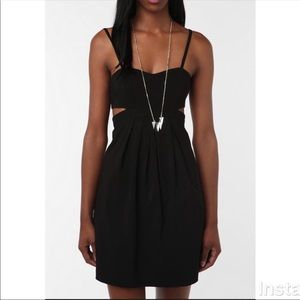 UO Sparkle & Fade Black Cut Out Mini Dress